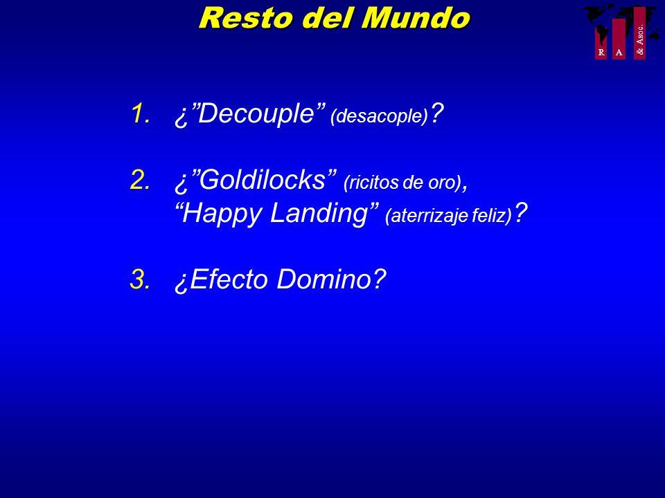 R A & Asoc. Resto del Mundo 1.¿Decouple (desacople) ? 2.¿Goldilocks (ricitos de oro), Happy Landing (aterrizaje feliz) ? 3.¿Efecto Domino?