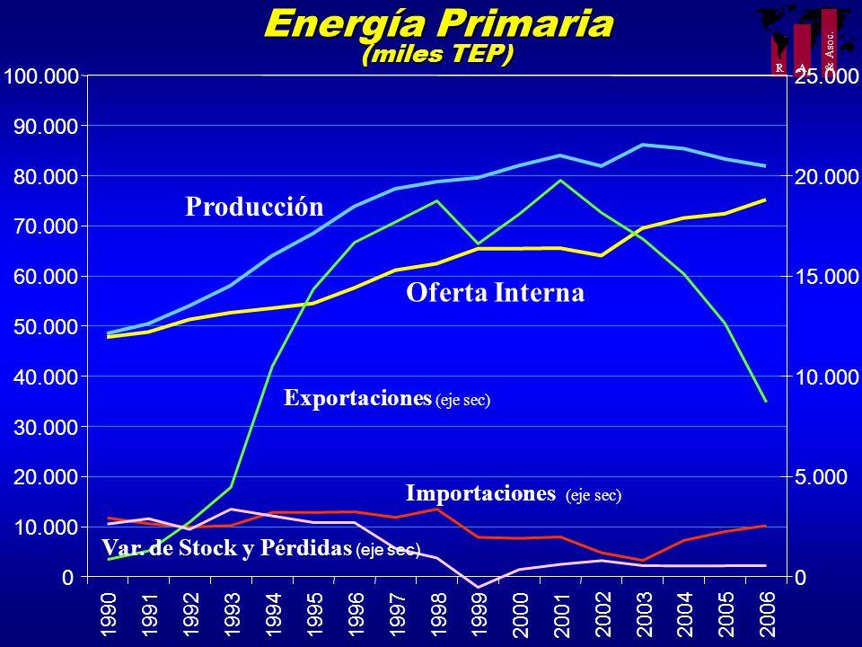 R A & Asoc. Energía Primaria (miles TEP) 0 10.000 20.000 30.000 40.000 50.000 60.000 70.000 80.000 90.000 100.000 199019911992199319941995199619971998