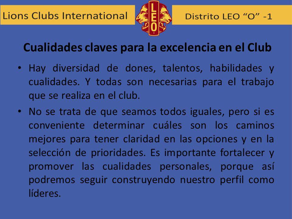 Cualidades claves para la excelencia en el Club Hay diversidad de dones, talentos, habilidades y cualidades. Y todas son necesarias para el trabajo qu