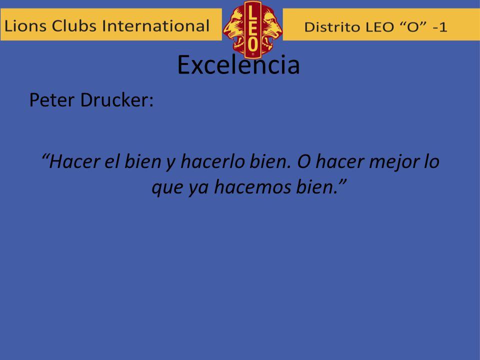 Excelencia Peter Drucker: Hacer el bien y hacerlo bien. O hacer mejor lo que ya hacemos bien.