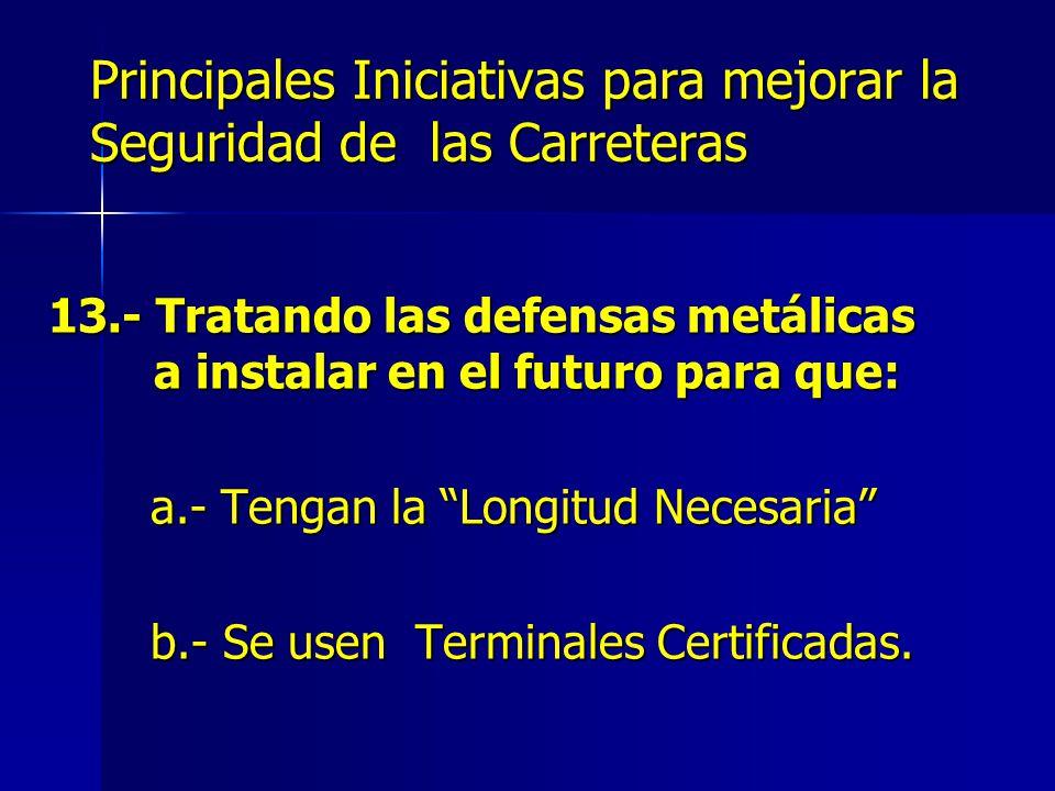 Principales Iniciativas para mejorar la Seguridad de las Carreteras 13.- Tratando las defensas metálicas a instalar en el futuro para que: a.- Tengan