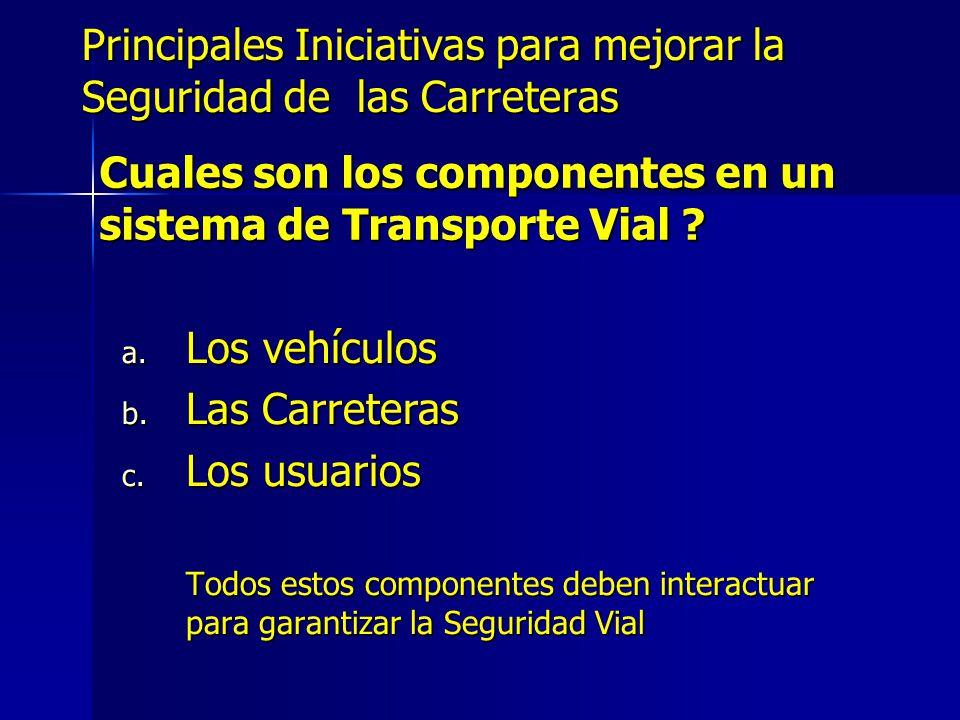 Principales Iniciativas para mejorar la Seguridad de las Carreteras a. Los vehículos b. Las Carreteras c. Los usuarios Todos estos componentes deben i