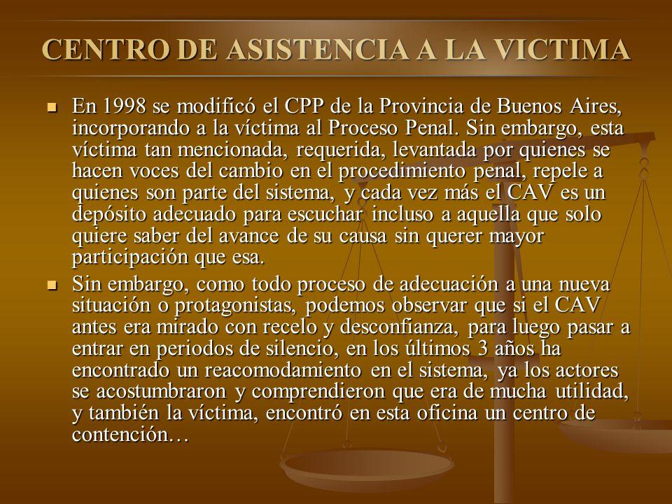 CENTRO DE ASISTENCIA A LA VICTIMA En 1998 se modificó el CPP de la Provincia de Buenos Aires, incorporando a la víctima al Proceso Penal. Sin embargo,