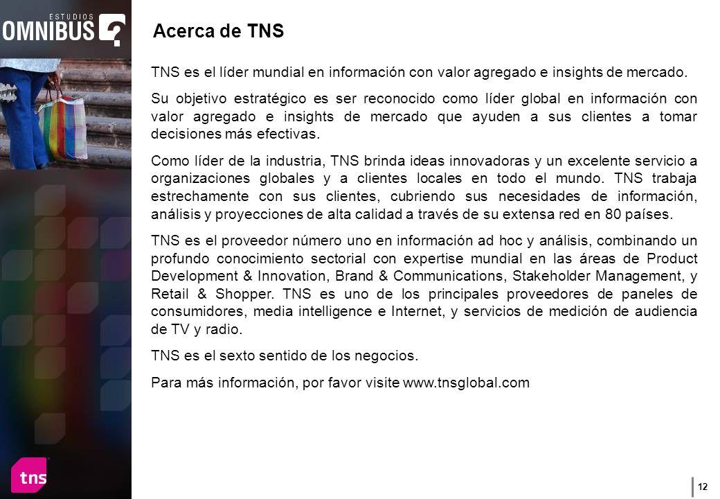 12 Acerca de TNS TNS es el líder mundial en información con valor agregado e insights de mercado.