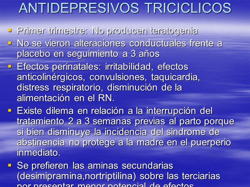 ANTIDEPRESIVOS TRICICLICOS Primer trimestre: No producen teratogenia Primer trimestre: No producen teratogenia No se vieron alteraciones conductuales