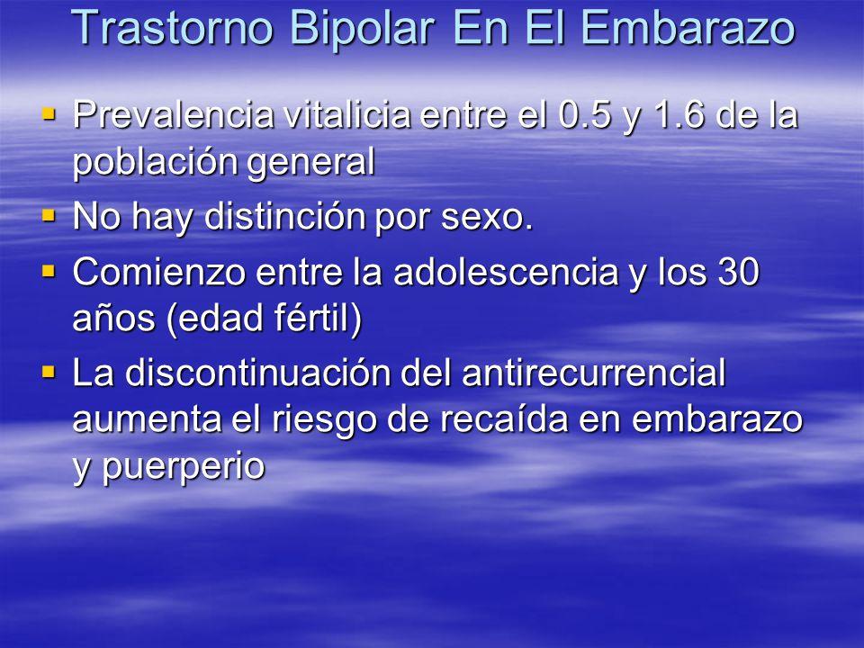 Trastorno Bipolar En El Embarazo Prevalencia vitalicia entre el 0.5 y 1.6 de la población general Prevalencia vitalicia entre el 0.5 y 1.6 de la pobla