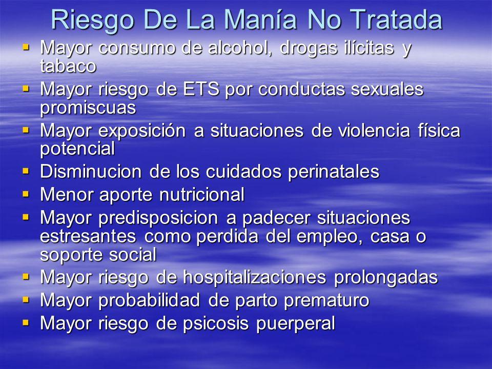 Riesgo De La Manía No Tratada Mayor consumo de alcohol, drogas ilícitas y tabaco Mayor consumo de alcohol, drogas ilícitas y tabaco Mayor riesgo de ET