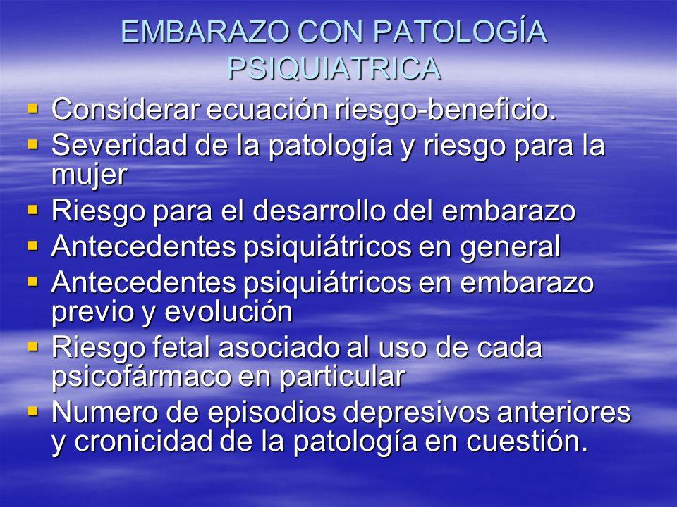 EMBARAZO CON PATOLOGÍA PSIQUIATRICA Considerar ecuación riesgo-beneficio. Considerar ecuación riesgo-beneficio. Severidad de la patología y riesgo par
