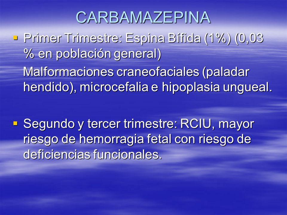 CARBAMAZEPINA Primer Trimestre: Espina Bífida (1%) (0,03 % en población general) Primer Trimestre: Espina Bífida (1%) (0,03 % en población general) Ma