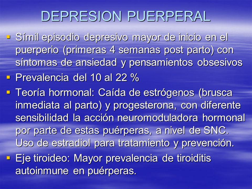 DEPRESION PUERPERAL Símil episodio depresivo mayor de inicio en el puerperio (primeras 4 semanas post parto) con síntomas de ansiedad y pensamientos o