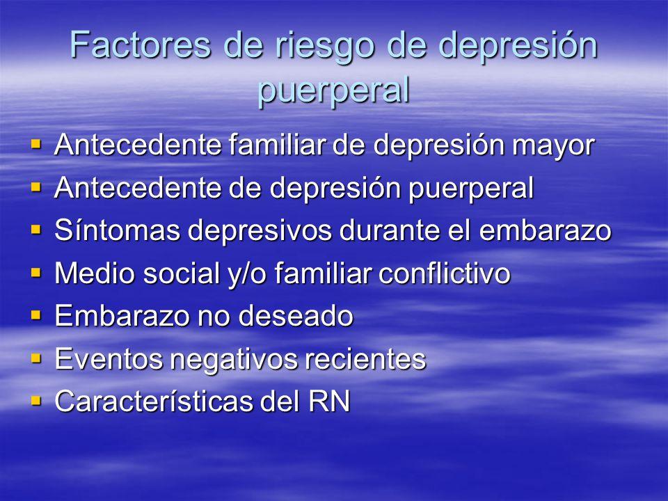 Factores de riesgo de depresión puerperal Antecedente familiar de depresión mayor Antecedente familiar de depresión mayor Antecedente de depresión pue