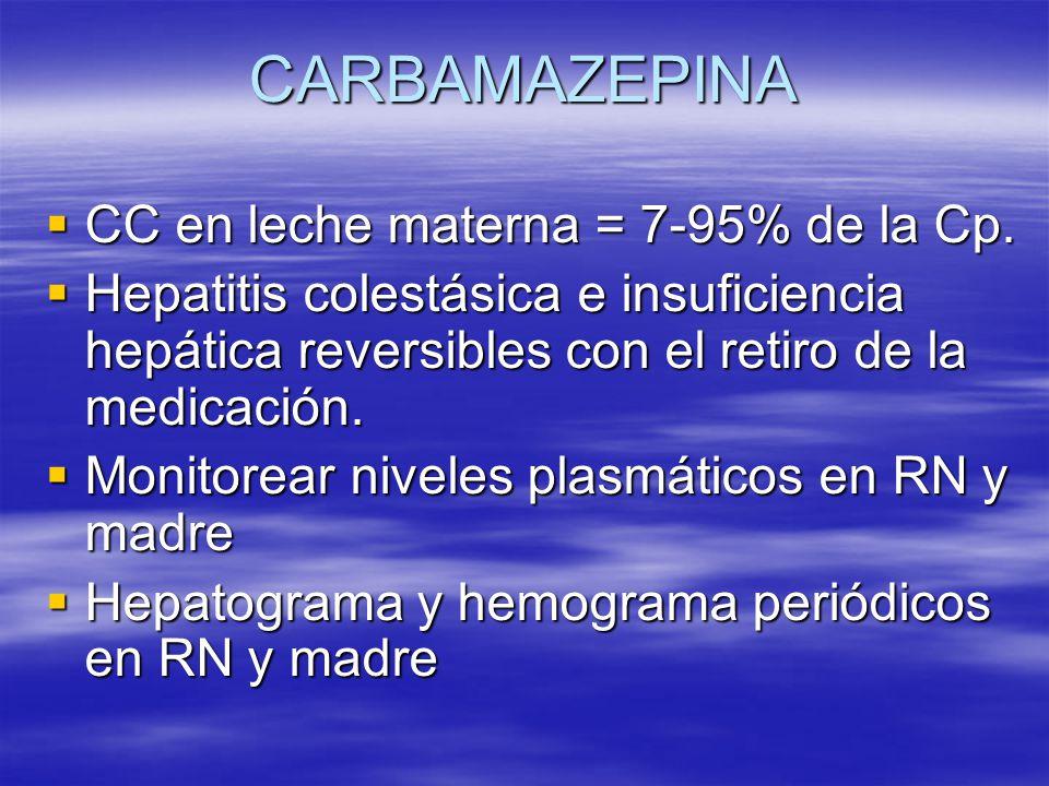 CARBAMAZEPINA CC en leche materna = 7-95% de la Cp. CC en leche materna = 7-95% de la Cp. Hepatitis colestásica e insuficiencia hepática reversibles c