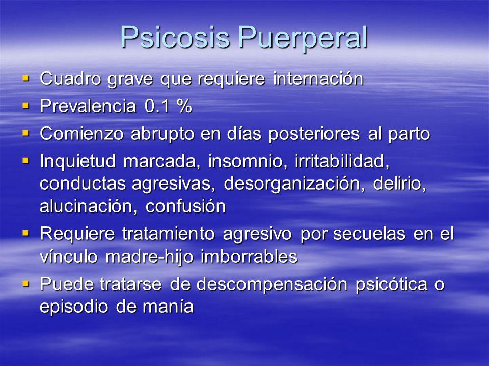 Psicosis Puerperal Cuadro grave que requiere internación Cuadro grave que requiere internación Prevalencia 0.1 % Prevalencia 0.1 % Comienzo abrupto en
