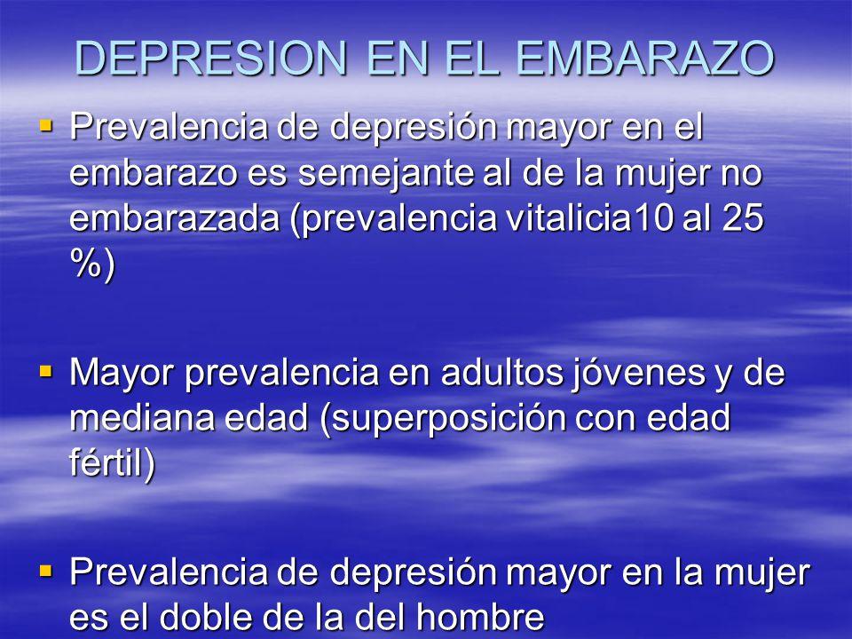 DEPRESION EN EL EMBARAZO Prevalencia de depresión mayor en el embarazo es semejante al de la mujer no embarazada (prevalencia vitalicia10 al 25 %) Pre