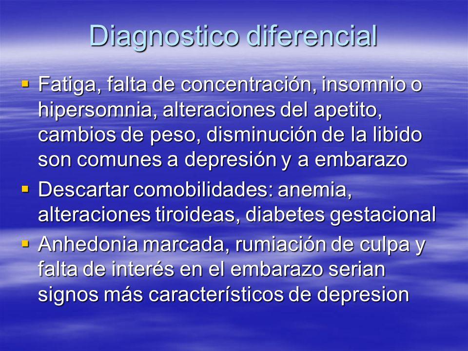 Diagnostico diferencial Fatiga, falta de concentración, insomnio o hipersomnia, alteraciones del apetito, cambios de peso, disminución de la libido so