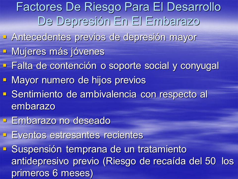 Factores De Riesgo Para El Desarrollo De Depresión En El Embarazo Antecedentes previos de depresión mayor Antecedentes previos de depresión mayor Muje