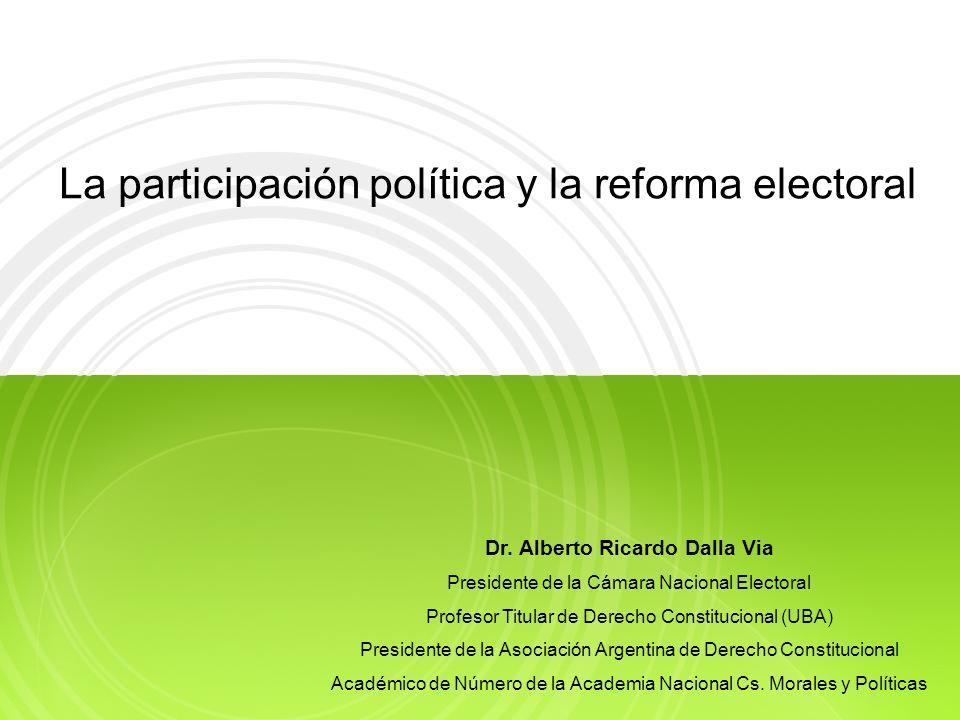 La participación política y la reforma electoral Dr.