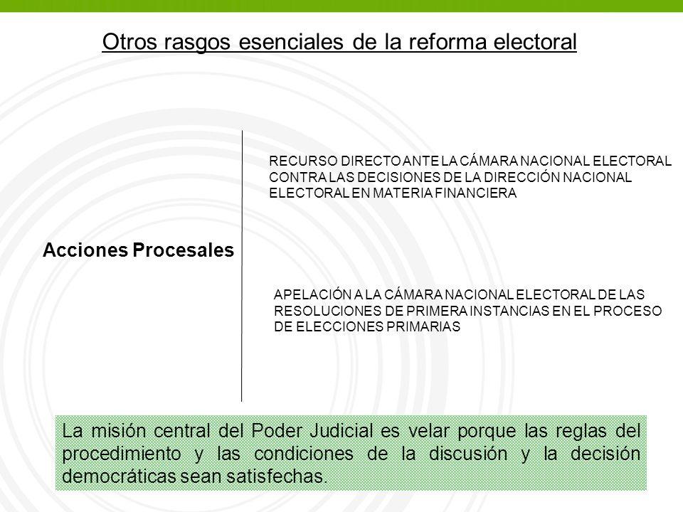Otros rasgos esenciales de la reforma electoral Acciones Procesales RECURSO DIRECTO ANTE LA CÁMARA NACIONAL ELECTORAL CONTRA LAS DECISIONES DE LA DIRECCIÓN NACIONAL ELECTORAL EN MATERIA FINANCIERA APELACIÓN A LA CÁMARA NACIONAL ELECTORAL DE LAS RESOLUCIONES DE PRIMERA INSTANCIAS EN EL PROCESO DE ELECCIONES PRIMARIAS La misión central del Poder Judicial es velar porque las reglas del procedimiento y las condiciones de la discusión y la decisión democráticas sean satisfechas.