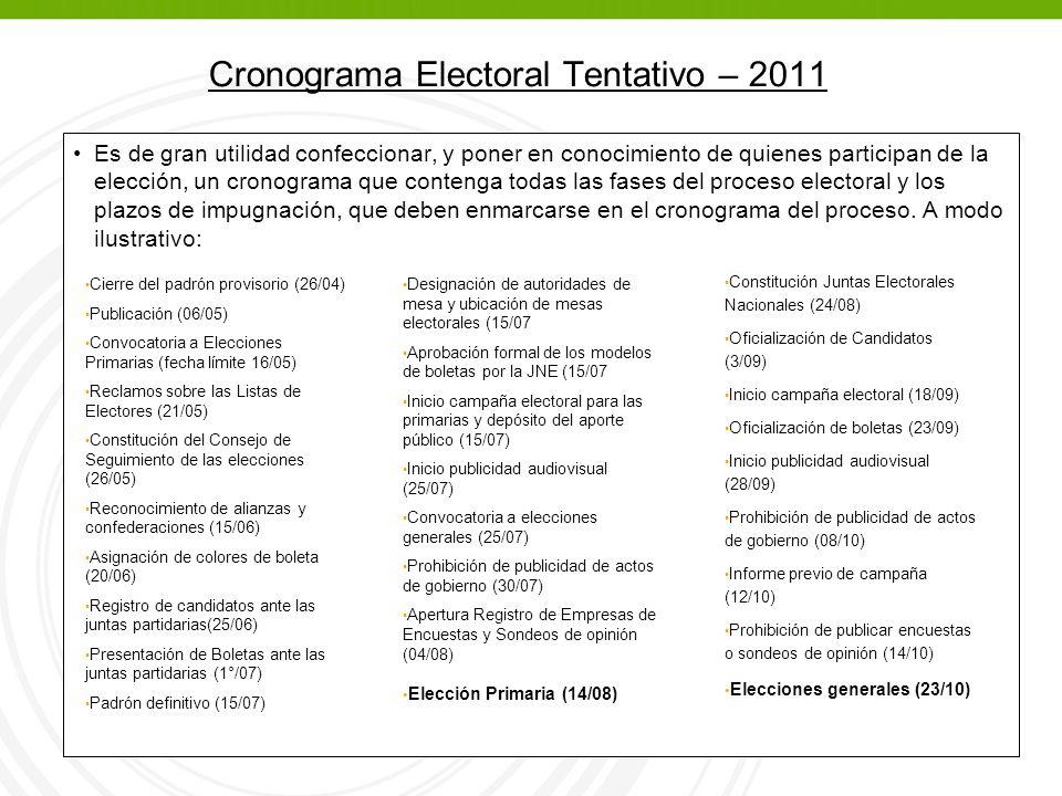 Cronograma Electoral Tentativo – 2011 Es de gran utilidad confeccionar, y poner en conocimiento de quienes participan de la elección, un cronograma que contenga todas las fases del proceso electoral y los plazos de impugnación, que deben enmarcarse en el cronograma del proceso.