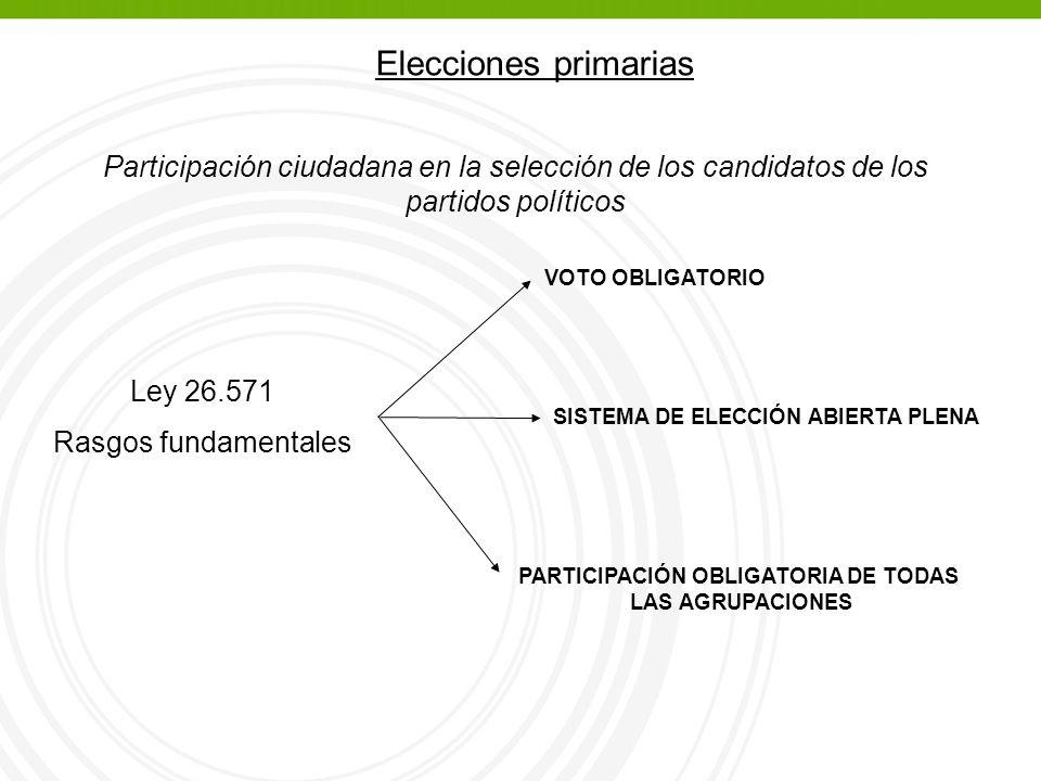 Elecciones primarias Participación ciudadana en la selección de los candidatos de los partidos políticos Ley 26.571 Rasgos fundamentales VOTO OBLIGATORIO SISTEMA DE ELECCIÓN ABIERTA PLENA PARTICIPACIÓN OBLIGATORIA DE TODAS LAS AGRUPACIONES