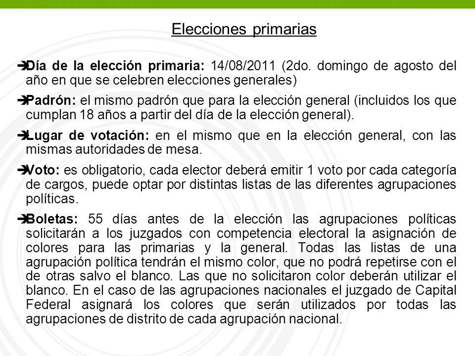 èDía de la elección primaria: 14/08/2011 (2do.