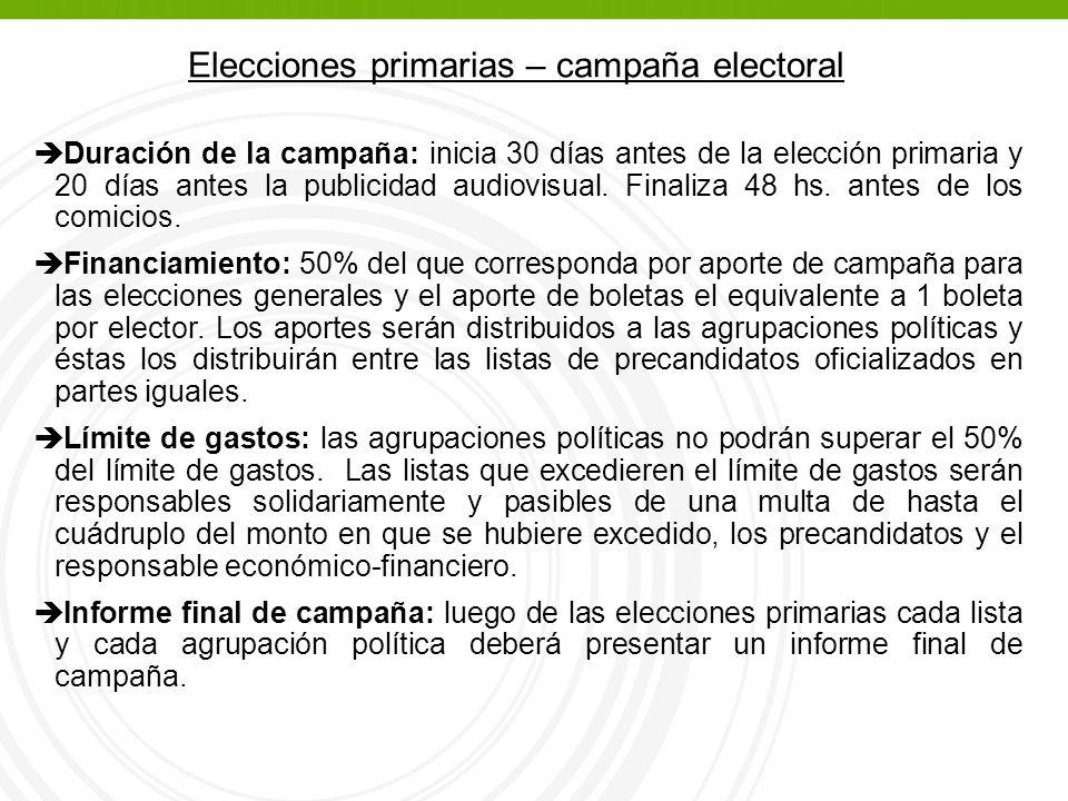 è Duración de la campaña: inicia 30 días antes de la elección primaria y 20 días antes la publicidad audiovisual.