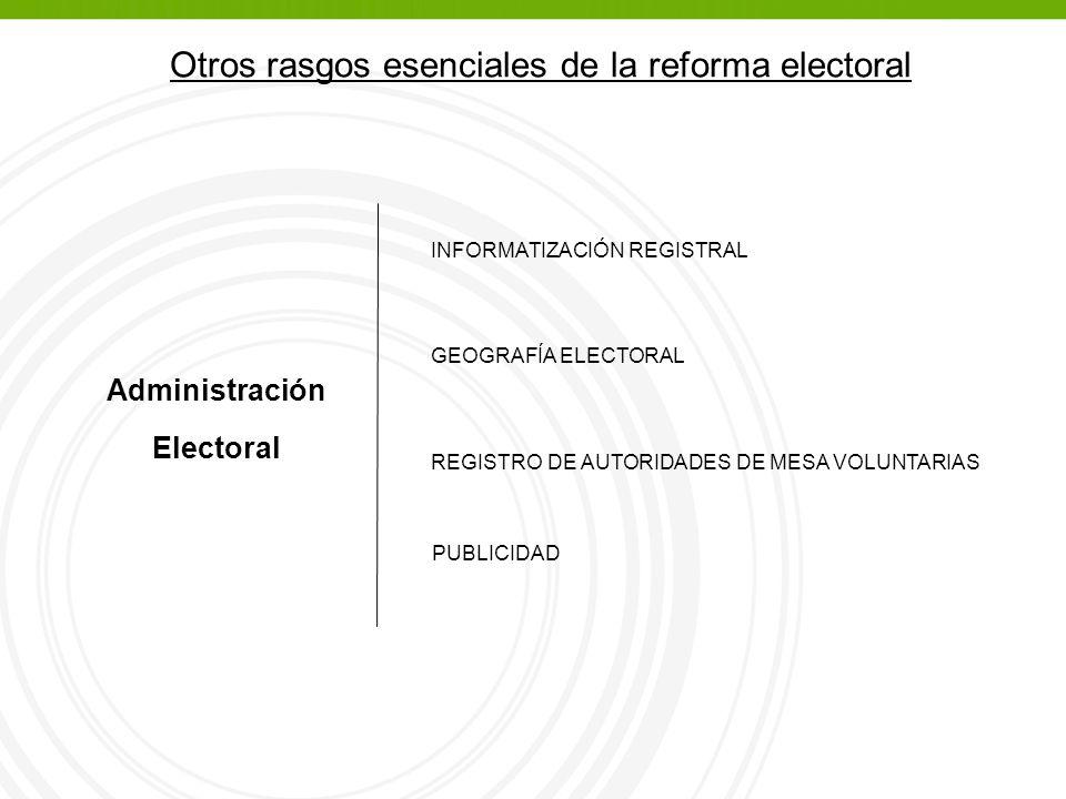 Otros rasgos esenciales de la reforma electoral Administración Electoral INFORMATIZACIÓN REGISTRAL GEOGRAFÍA ELECTORAL REGISTRO DE AUTORIDADES DE MESA VOLUNTARIAS PUBLICIDAD