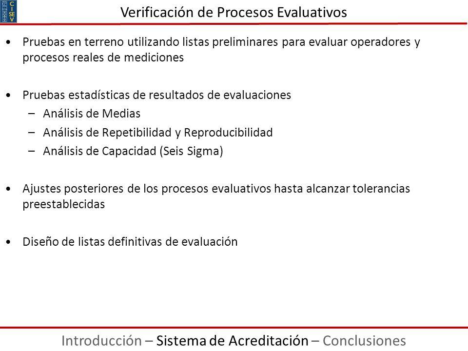Pruebas en terreno utilizando listas preliminares para evaluar operadores y procesos reales de mediciones Pruebas estadísticas de resultados de evalua
