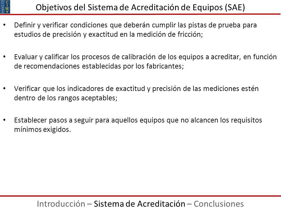 Definir y verificar condiciones que deberán cumplir las pistas de prueba para estudios de precisión y exactitud en la medición de fricción; Evaluar y