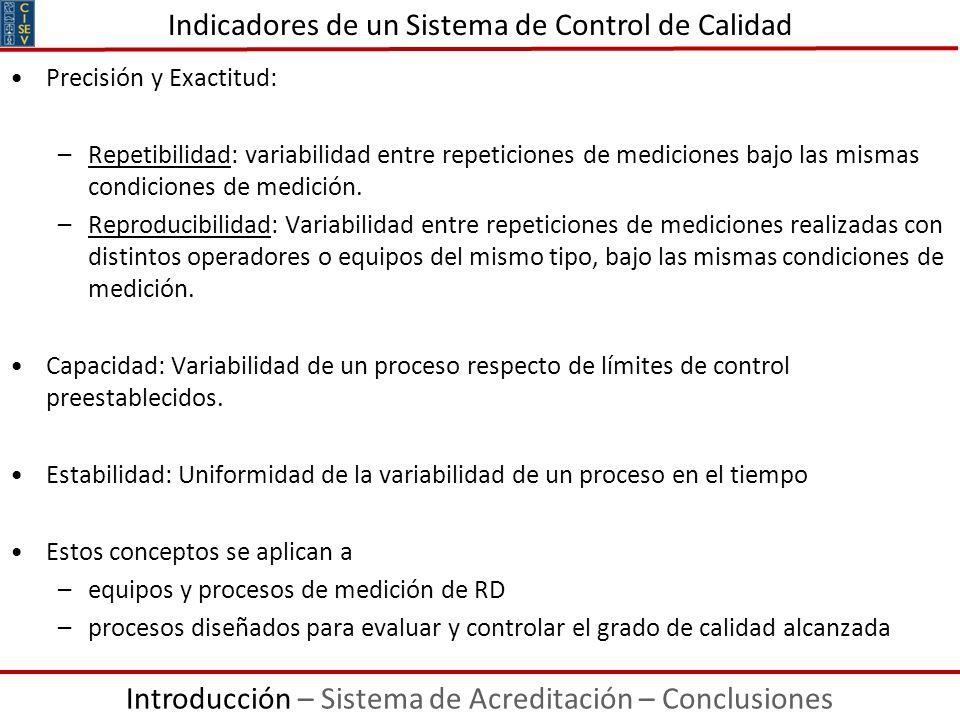 Precisión y Exactitud: –Repetibilidad: variabilidad entre repeticiones de mediciones bajo las mismas condiciones de medición. –Reproducibilidad: Varia