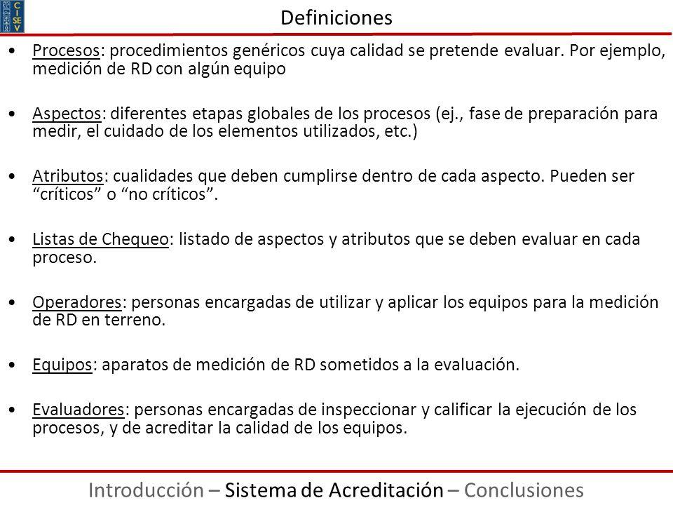 Procesos: procedimientos genéricos cuya calidad se pretende evaluar. Por ejemplo, medición de RD con algún equipo Aspectos: diferentes etapas globales