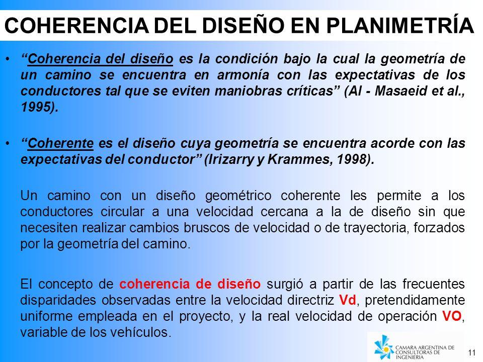 COHERENCIA DEL DISEÑO EN PLANIMETRÍA 11 Coherencia del diseño es la condición bajo la cual la geometría de un camino se encuentra en armonía con las expectativas de los conductores tal que se eviten maniobras críticas (Al - Masaeid et al., 1995).