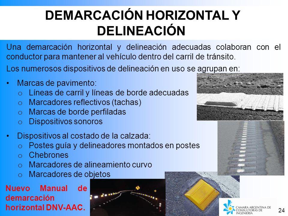 24 Una demarcación horizontal y delineación adecuadas colaboran con el conductor para mantener al vehículo dentro del carril de tránsito.