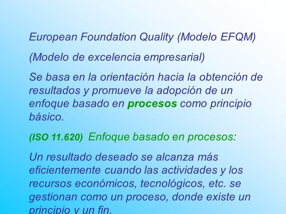 European Foundation Quality (Modelo EFQM) (Modelo de excelencia empresarial) Se basa en la orientación hacia la obtención de resultados y promueve la adopción de un enfoque basado en procesos como principio básico.