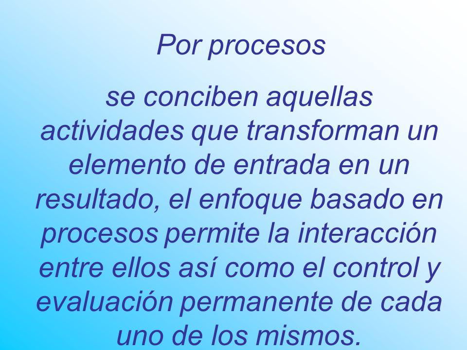 Por procesos se conciben aquellas actividades que transforman un elemento de entrada en un resultado, el enfoque basado en procesos permite la interacción entre ellos así como el control y evaluación permanente de cada uno de los mismos.