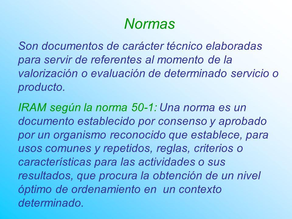 Normas Son documentos de carácter técnico elaboradas para servir de referentes al momento de la valorización o evaluación de determinado servicio o producto.