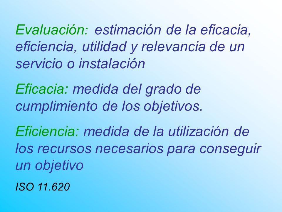Evaluación : estimación de la eficacia, eficiencia, utilidad y relevancia de un servicio o instalación Eficacia: medida del grado de cumplimiento de los objetivos.