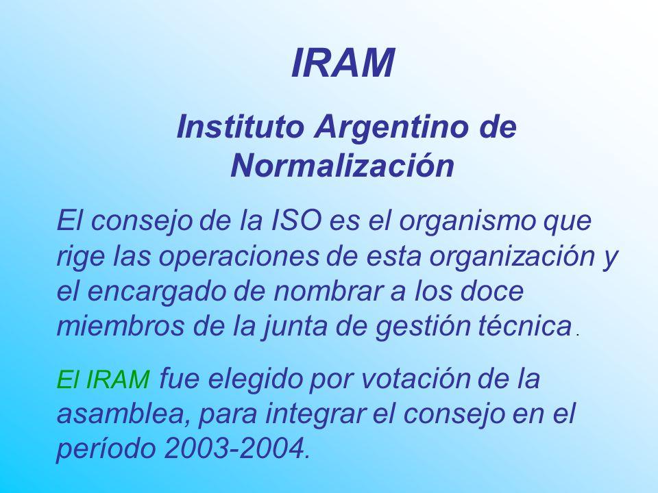 IRAM Instituto Argentino de Normalización El consejo de la ISO es el organismo que rige las operaciones de esta organización y el encargado de nombrar a los doce miembros de la junta de gestión técnica.