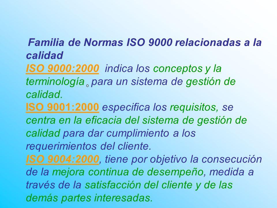 Familia de Normas ISO 9000 relacionadas a la calidad ISO 9000:2000 indica los conceptos y la terminología para un sistema de gestión de calidad.
