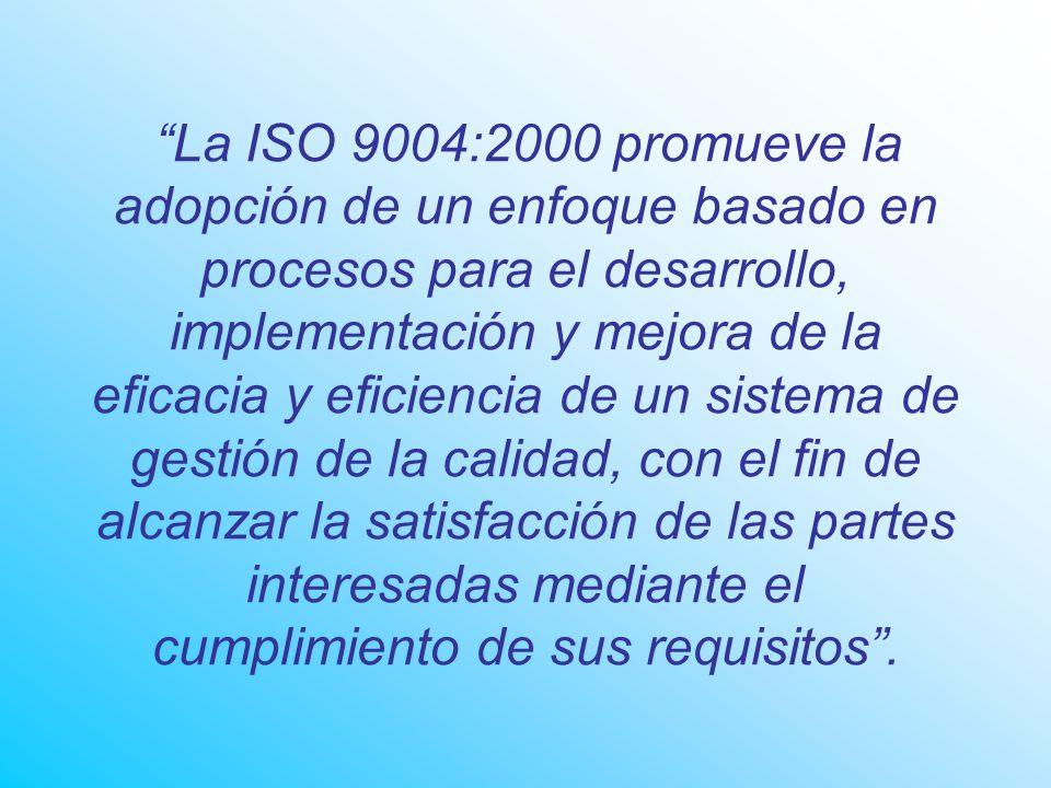 La ISO 9004:2000 promueve la adopción de un enfoque basado en procesos para el desarrollo, implementación y mejora de la eficacia y eficiencia de un sistema de gestión de la calidad, con el fin de alcanzar la satisfacción de las partes interesadas mediante el cumplimiento de sus requisitos.