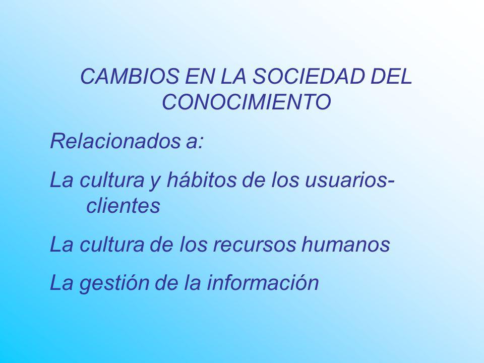 CAMBIOS EN LA SOCIEDAD DEL CONOCIMIENTO Relacionados a: La cultura y hábitos de los usuarios- clientes La cultura de los recursos humanos La gestión de la información