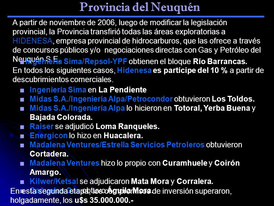 Provincia del Neuquén Ingeniería Sima en La Pendiente Midas S.A./Ingeniería Alpa/Petrocondor obtuvieron Los Toldos. Midas S.A./Ingeniería Alpa lo hici