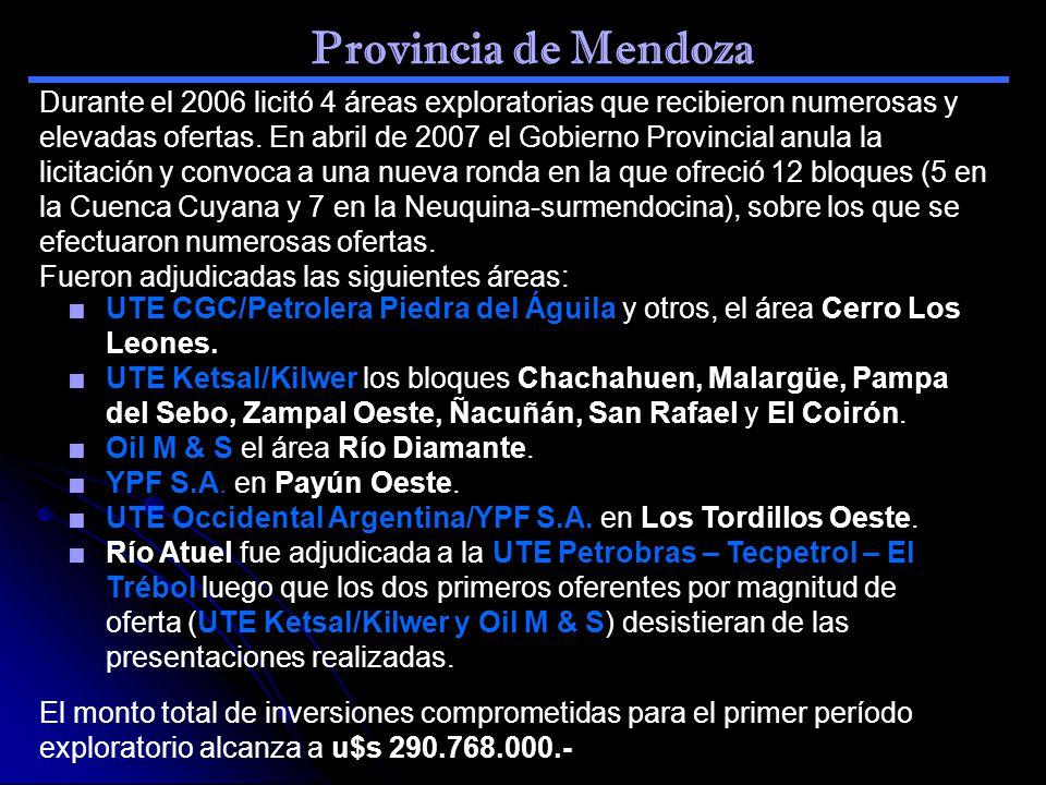 Provincia de Mendoza UTE CGC/Petrolera Piedra del Águila y otros, el área Cerro Los Leones. UTE Ketsal/Kilwer los bloques Chachahuen, Malargüe, Pampa