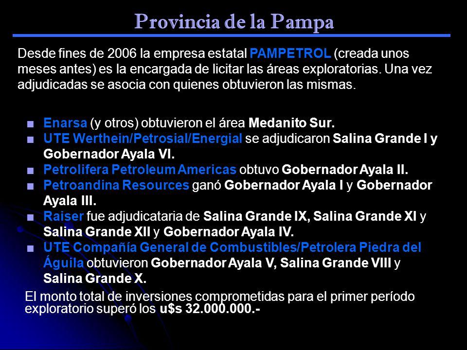 Provincia de la Pampa Desde fines de 2006 la empresa estatal PAMPETROL (creada unos meses antes) es la encargada de licitar las áreas exploratorias. U