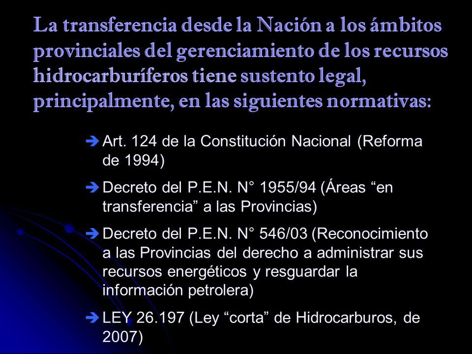 La transferencia desde la Nación a los ámbitos provinciales del gerenciamiento de los recursos hidrocarburíferos tiene sustento legal, principalmente,