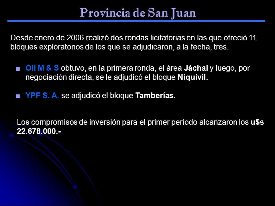 Provincia de San Juan Desde enero de 2006 realizó dos rondas licitatorias en las que ofreció 11 bloques exploratorios de los que se adjudicaron, a la