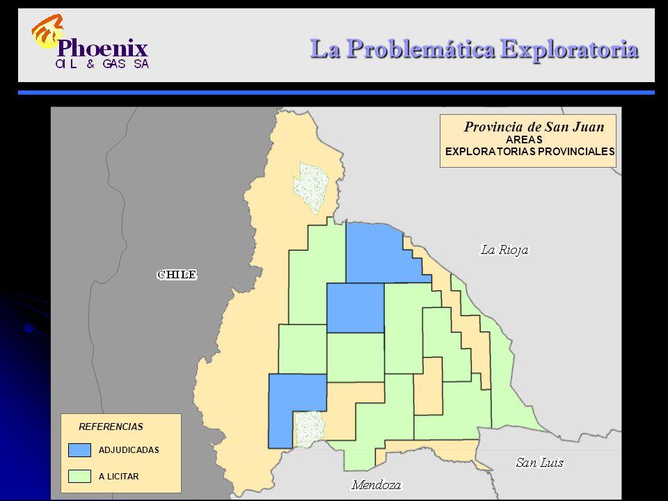 La Problemática Exploratoria La Problemática Exploratoria ADJUDICADAS A LICITAR REFERENCIAS Provincia de San Juan AREAS EXPLORATORIAS PROVINCIALES