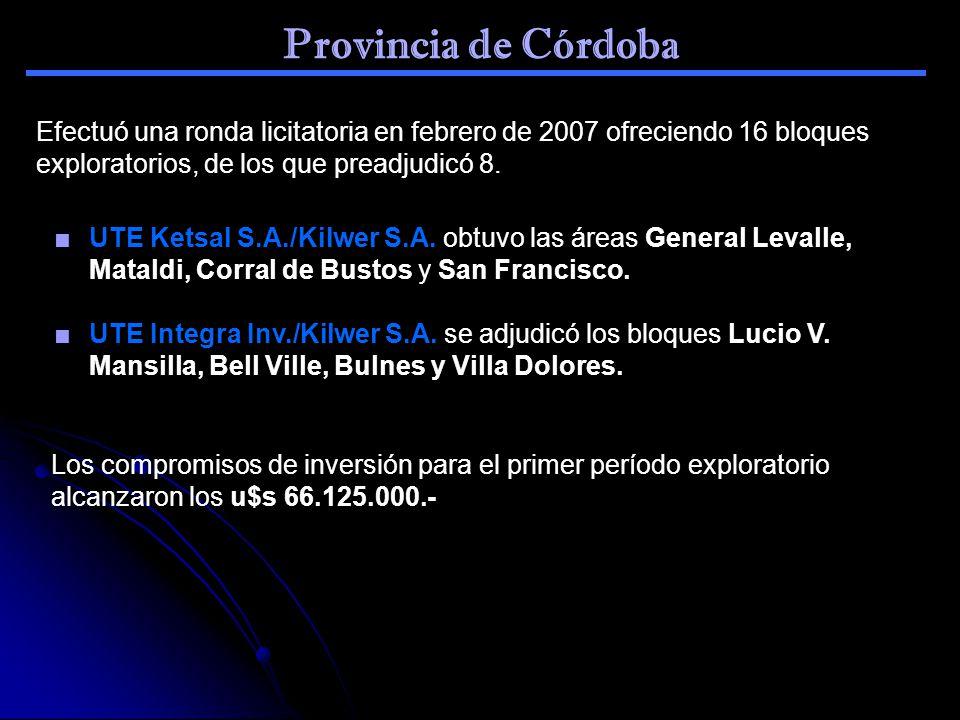 Provincia de Córdoba Efectuó una ronda licitatoria en febrero de 2007 ofreciendo 16 bloques exploratorios, de los que preadjudicó 8. UTE Ketsal S.A./K