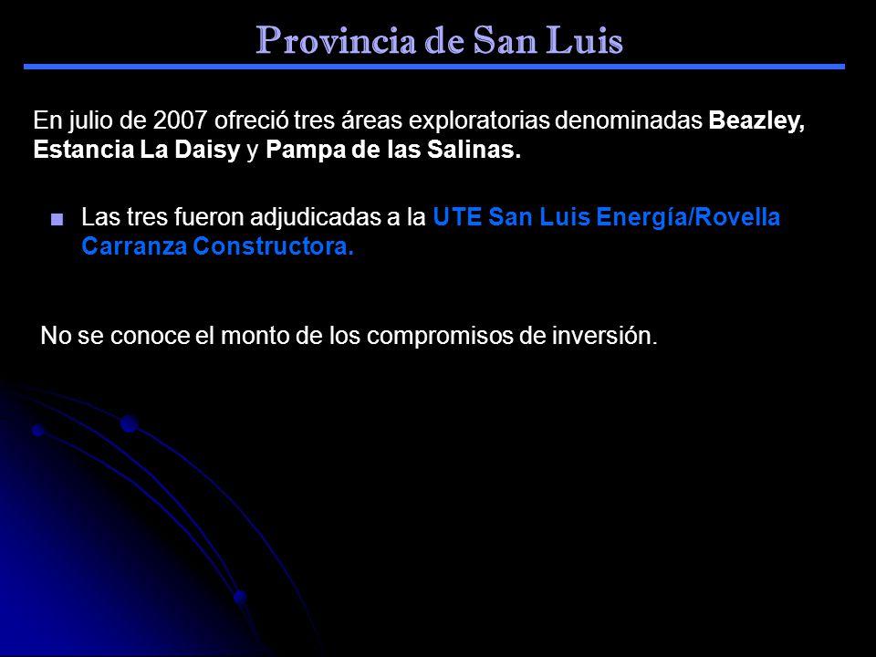Provincia de San Luis En julio de 2007 ofreció tres áreas exploratorias denominadas Beazley, Estancia La Daisy y Pampa de las Salinas. Las tres fueron