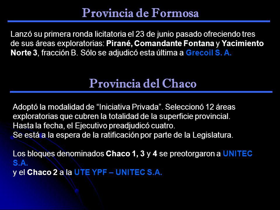 Provincia de Formosa Lanzó su primera ronda licitatoria el 23 de junio pasado ofreciendo tres de sus áreas exploratorias: Pirané, Comandante Fontana y